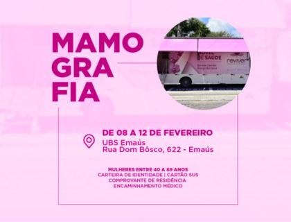 Prefeitura de Parnamirim realizará exames de mamografias em Emaús, a partir desta segunda-feira, (08)